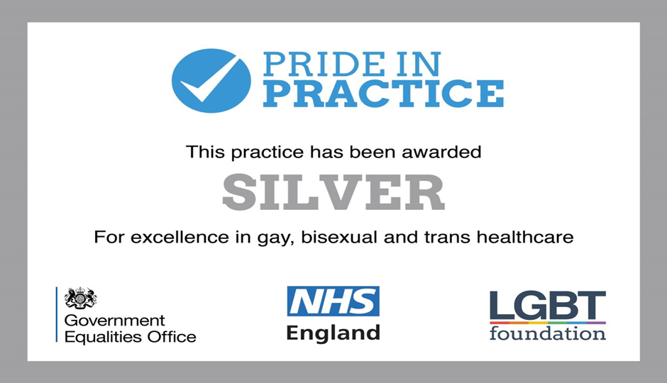 banner reading awarded silver for excellence in gay, bisexual and trans healthcare