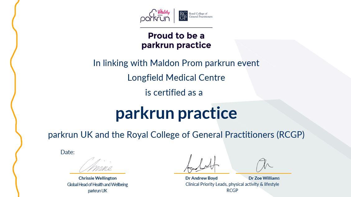 banner regarding parkrun practice