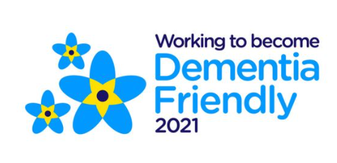 logo reading working to become dementia friendly 2021